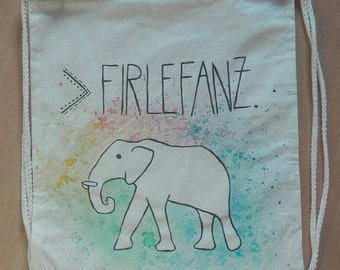 Bag elephant in the colorful frippery, hand painted