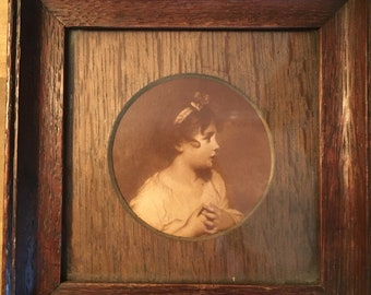Art Miniature 'The Age of Innocence' Wooden Framed Picture Vintage Antique