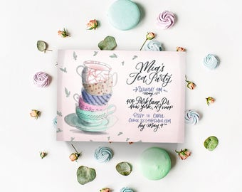 Custom Handwritten Tea Party Invitations - Handwritten invitations, Tea Party Printables, Girls Tea Party, Pink Invitations, Printables.