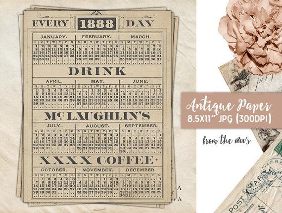 1888 Antique Calendar