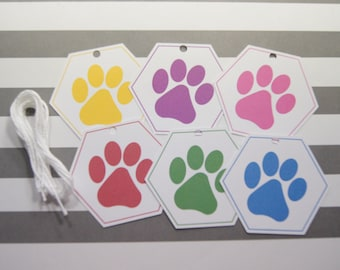 Paw Print Tags Birthday Tags Birthday Favor Tags Hexagon Shape  Multi Colors - Set of 12 T584