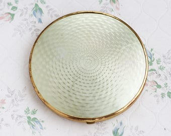 Art Deco Compact Mirror - Large Make up Mirror Case - Double Sided - Magnifying Mirror - Made in Germany