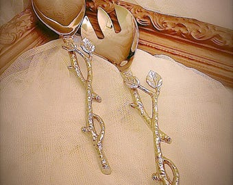 Serving fork and spoon set, salad fork and spoon set, rustic serving fork and spoon set