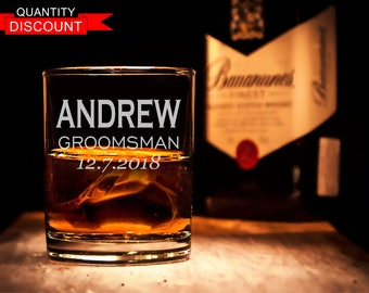 Personalized Whiskey Glasses, Rocks Glasses, Engraved glass, Groomsmen glasses, Personalized glass, Groomsmen gifts, Groomsman gift