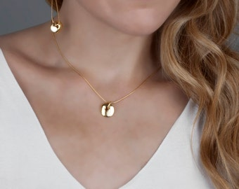 Gold Necklace, Gold Coin Necklace, Gold Disc Necklace, Gold Layered Necklace, Dainty Necklace, Organic Pendant, Tiny Pedant Necklace, Karma