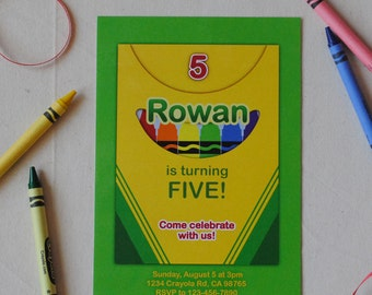 Color Crayon Birthday Party Invitation DESIGN