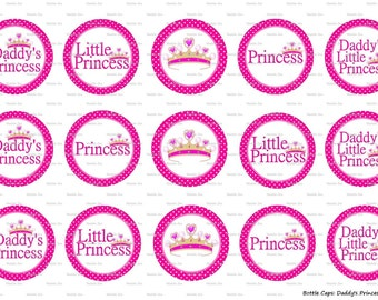 """15 Daddy's Princess Images Digital Download for 1"""" Bottle Caps (4x6)"""