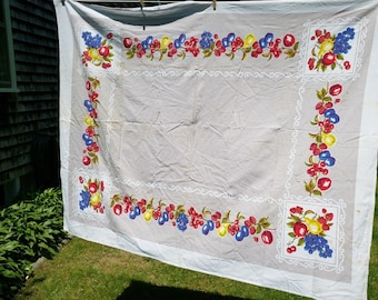 Vintage Startex Fruit Tablecloth As Found