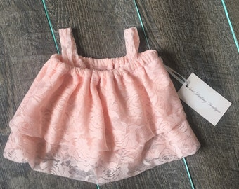 Baby Toddler Pink Lace Bubble Tank Top| Baby Toddler Crop Top| Baby Crop Tops