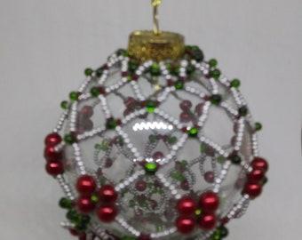 Festive champagne ornament in silver & red