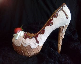 Ice Cream High Heel Shoes/ whipped cream and strawberry / sizes 3 4 5 6 7 8 Bespoke