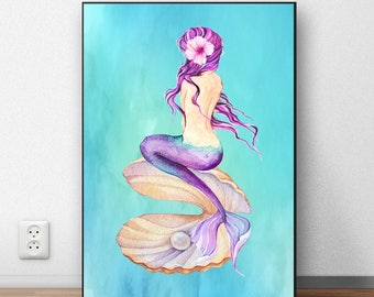 Mermaid Print, Mermaid Wall Art, Mermaid Nursery Decor, Mermaid Wall Decor, Mermaid Printable Art, Mermaid Baby Shower Decorations, MM
