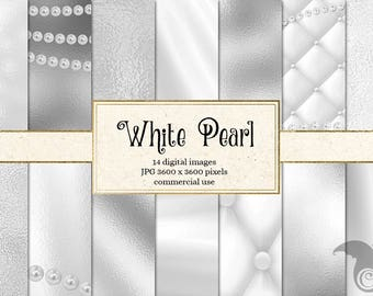 White Pearl Digital Paper, pearl backgrounds, pearl textures instant download scrapbook paper, digital wedding pearl necklace