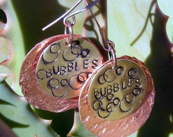 "Stamped Copper and Brass Earrings, Antiqued ""Bubbles"" Jewelry"