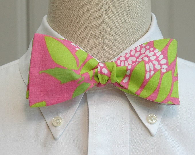 Men's Bow Tie,  Soleil hot pink and green Lilly floral print bow tie, wedding bow tie, groom bow tie, groomsmen gift, prom floral bow tie,