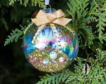 Paillettes d'or bijou en verre irisé rondes en ornement, noeud, boules de neige étincelle, Double-Satin ruban Ivoire, décor d'arbre de Noël vacances