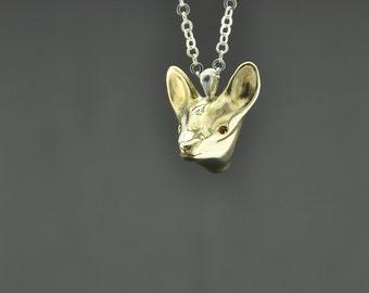 Deer Necklace, Deer Charm, Deer Necklace, Fawn Jewelry, Bronze Necklace