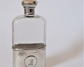 Antique silver and glass hip flask
