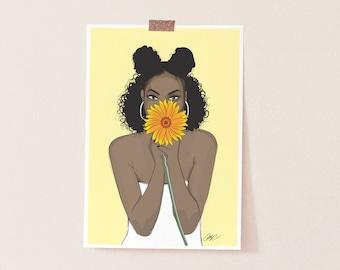 black girl magic, african american art,  wall art, melanin, art print, afro art, natural hair art, natural hair, black woman art, wall decor