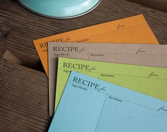 10 Colorful RECIPE CARDS, set of 10 modern design (Letterpress printed, 4x6 inches) perfect gift, organize recipes