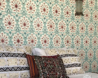 Large Suzani Damask Wall Pattern Stencil for Boho Chic Wallpaper Style - Moroccan or Bohemian Wall Decor