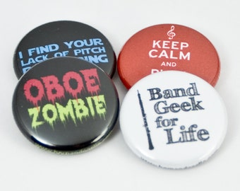 Keep Calm and Play Oboe plus three Pinback Buttons or Magnets - size one inch - OBO 1