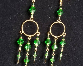 Gold and Green Dangly Chandelier Earrings with Paddle Pins