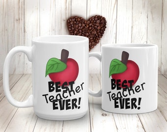 Teacher Appreciation Mug Best Teacher Ever Teacher Gifts Personalized Mug Red Apple Fruit Lover Thank you Teacher Apple Gifts Apple Painting