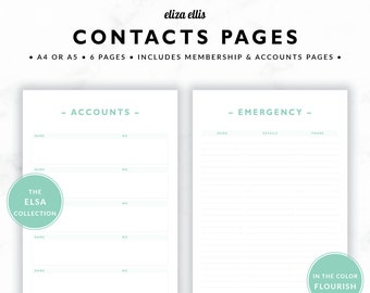 CONTACTS & ACCOUNTS / Address Book / 2018 Planner / Planner Accessories / Contacts / Password Keeper / The Elsa Planners in Flourish / 418