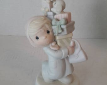 Bundles of Joy / Retired Precious Moments Porcelain Figurine / E-2374 / Enesco Vintage Collectible / Girl with Packages / NIB