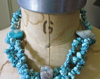 Vintage Choker Turquoise Stones Necklace/ Silver Beads