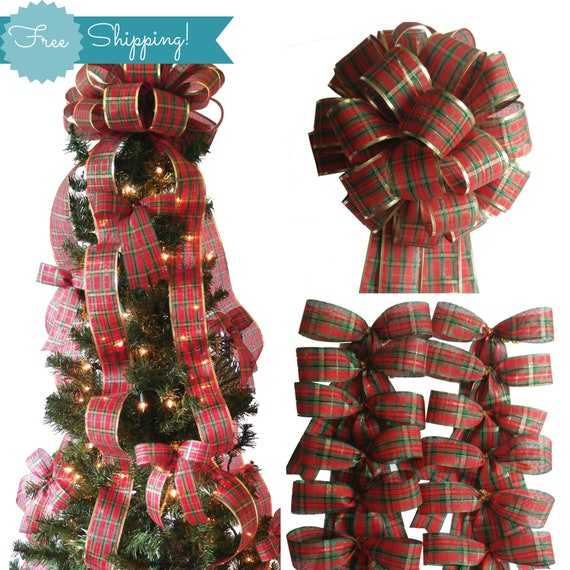 Christmas Tree Bows Decorations: Items Similar To Plaid Christmas Tree Decorations Set