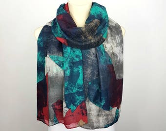 Scarf Women Blue Bohemian Scarves for Women Spring Scarf Women Long Boho Scarfs Fashion Scarf Women Gifts for Mom Gift Mothers Day Gift