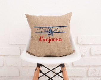 Airplane Boys Name Pillow Cover Plane Personalized Name Pillowcase Burlap Custom Decorative Pillow Case for Boy Pillow Cover Nursery #129