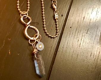 Quartz raw crystal pendant necklace, quartz point necklace, blue gray quartz, bohemian jewelry, raw stone jewelry, wire wrapped crystal