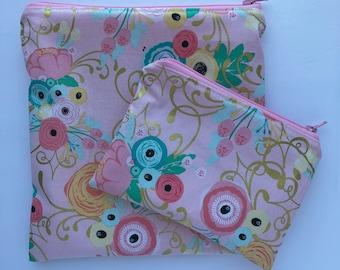 Sandwich Bag - Snack Bag - Snack Bag Set - Lunch Bag Set - Zippered Snack Bag - Kids Lunch Bag - Snack Sack - Pink and Gold Floral