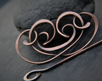 Greek inspired hair slide or shawl pin, hair barrette, hair clip, pin, brooch, fibula, antique copper, elegant hair accessories, metal