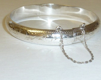 Vintage Sterling Silver Bracelet Hinged Engraved 925 Etched with Safety Chain