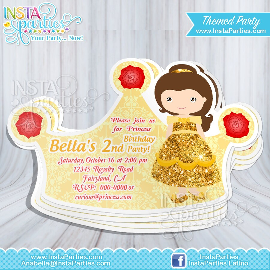Belle Princess Invitations crown / Princess cut out birthday