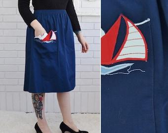 Vintage Blue Skirt with Sailboat Applique Pocket Size Medium or Large