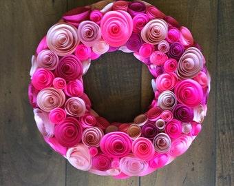 Pink Rosette Wreath