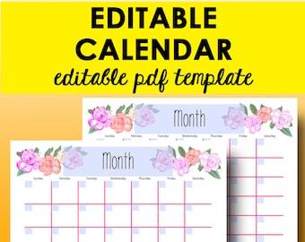 blank printable monthly calendar 2018