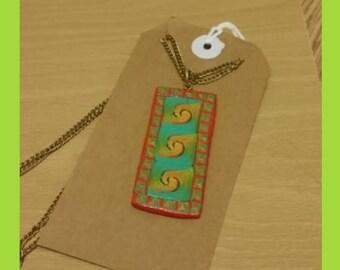 Mixed media art pendant, sea swirl (micro caning technique)