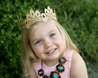 NEW Gold Prince or Princess Halo Lace Crown - Hayden - Crown - Full Size - Photography prop - Toddler thru Adult