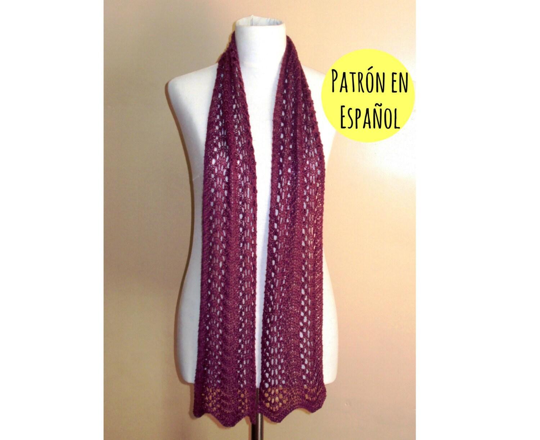 PATRÓN de bufanda tejida tipo lace Patrón de bufanda pavo