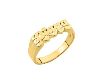 Half Round Name Ring (6mm) - Name Ring Custom Name Ring Baby Name Ring Pinky Ring Personalized Name Ring Handmade USA - 925 Sterling Silver