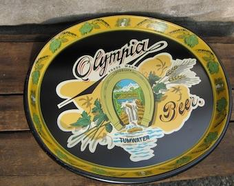 Olympia Beer Tray Vintage Barware Breweriana Tumwater Washington 1981 serving tray