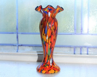 End Of Day Glass Bud Vase Cobalt Interior Vintage Art Glass