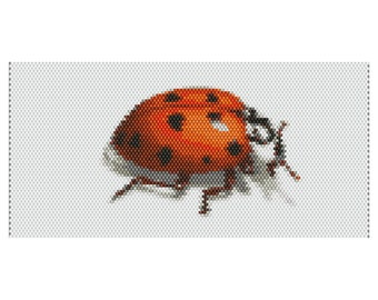 Lady Bug  Peyote Cuff Beaded Bracelet Pattern