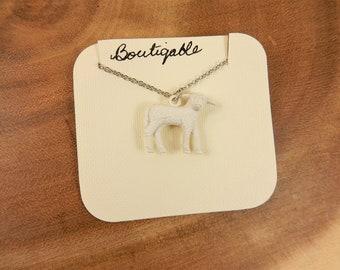 Lamb Necklace, Vintage Lamb Pendant, Sheep Necklace, Farm Animal Jewellery